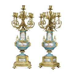 Pair of Five Branch Ormolu and Sevres Style Porcelain Candelabra