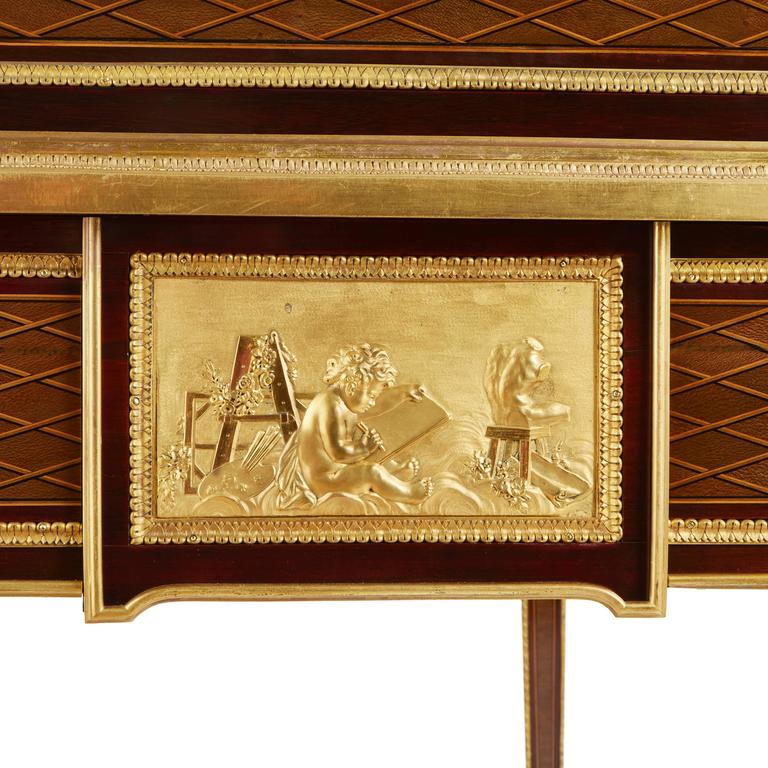 French Ormolu-Mounted Marquetry Roll-Top Desk Attributed to P. Bernard For Sale