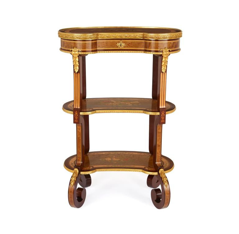 French Louis XV Style Kidney Shaped Ormolu-Mounted Dressing Table by Sormani For Sale