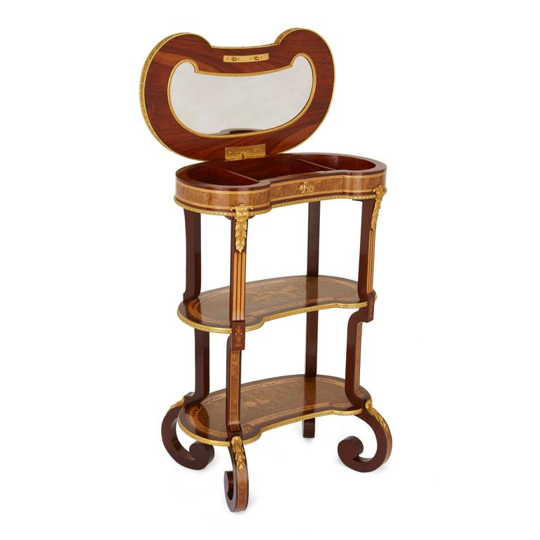 Marquetry Louis XV Style Kidney Shaped Ormolu-Mounted Dressing Table by Sormani For Sale
