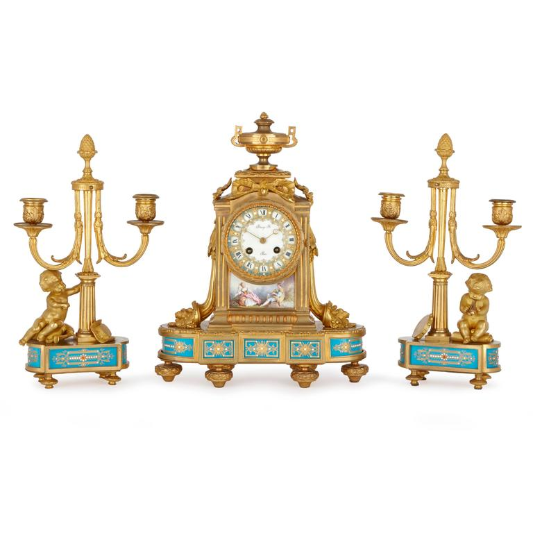 Porcelain Mounted Ormolu Antique French Three Piece Clock Set