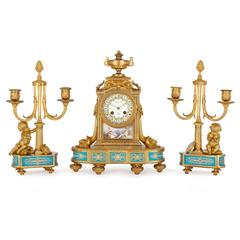 Porcelain Mounted Ormolu Antique French Three Piece Clock Set