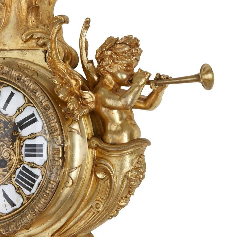 Gilt Antique French Neoclassical style Ormolu Clock and Barometer Set by Mottheau For Sale