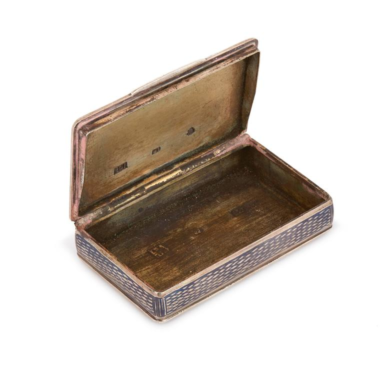 19th Century Antique Russian Silver Niello Snuff Box with Rectangular Hinged Lid For Sale