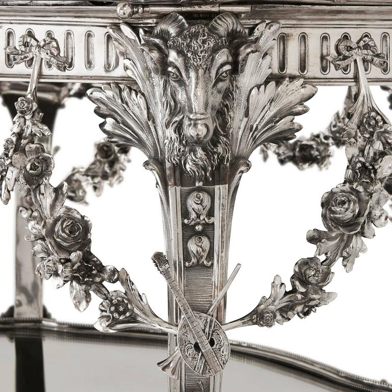 Solid Silver Art Nouveau Tea Table by Schleissner & Sohne 3