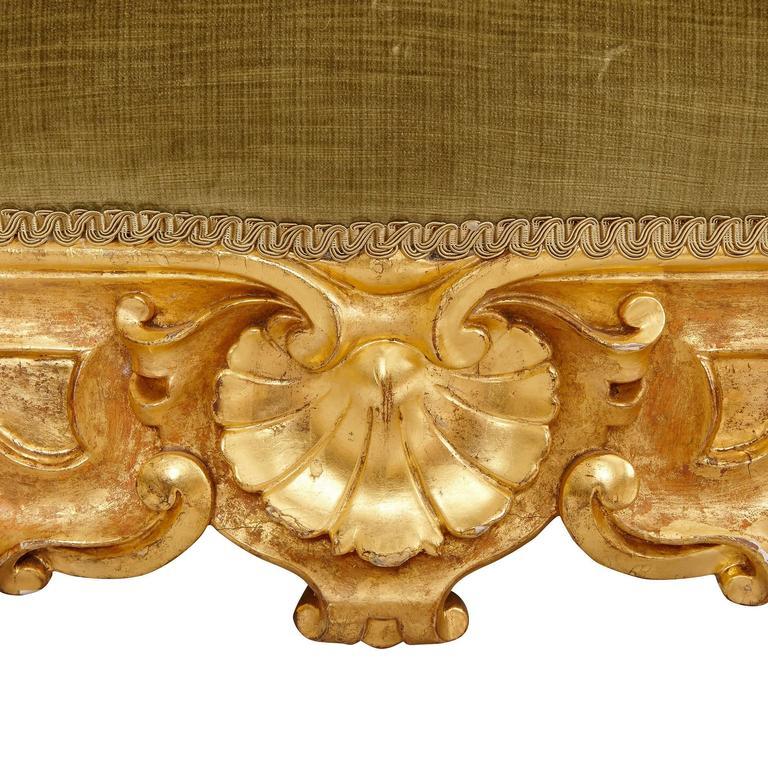 Velvet Italian Giltwood Antique Three-Piece Salon Suite For Sale