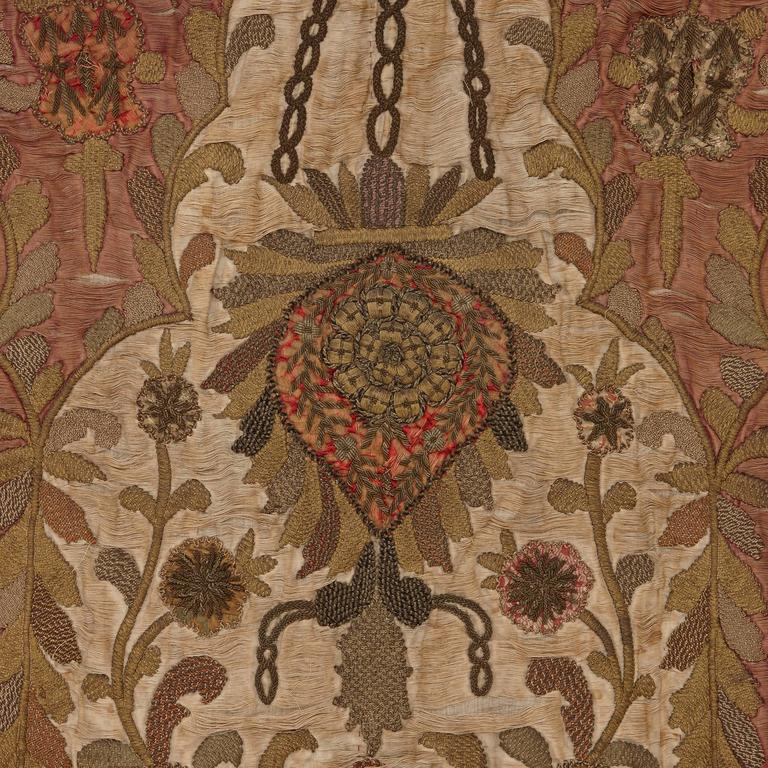 Red Silk Satin 18th Century Embroidered Prayer Rug For