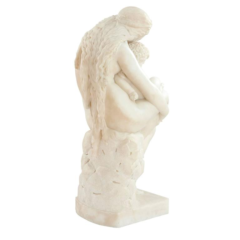 Hand-Carved 'The First Cradle' White Marble Antique Italian Sculpture by Pietro Franchi For Sale
