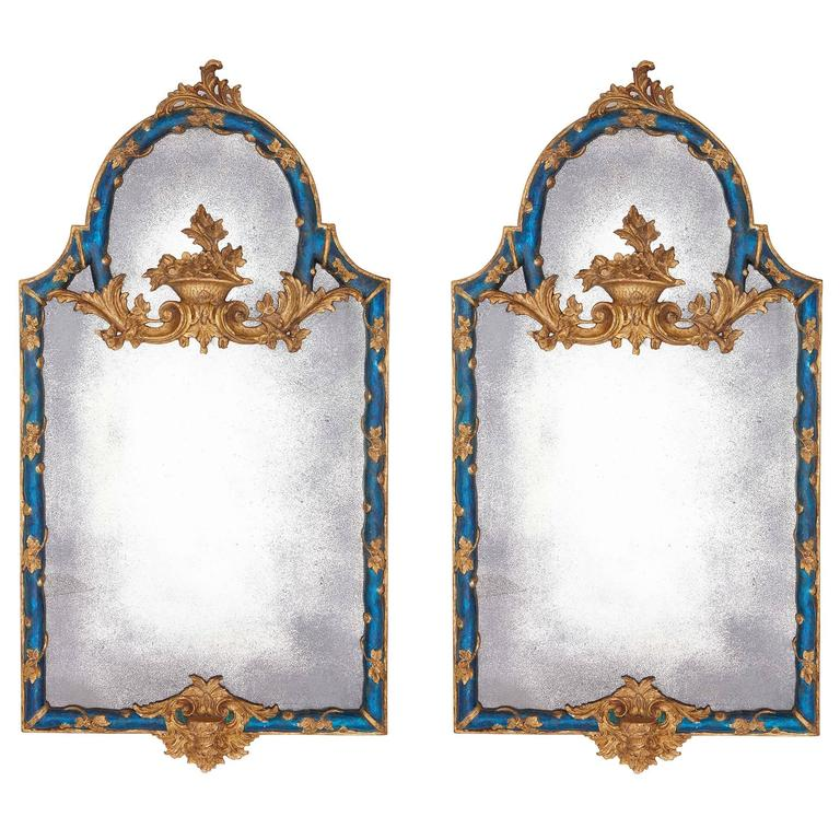 Pair of Baroque Style Hand-Carved Giltwood and Blue Painted Italian Mirrors
