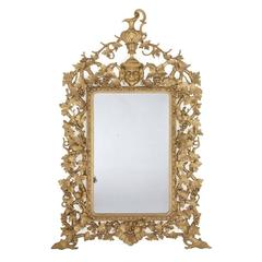 Large and Impressive Antique Italian Carved Giltwood Mirror in the Baroque Style
