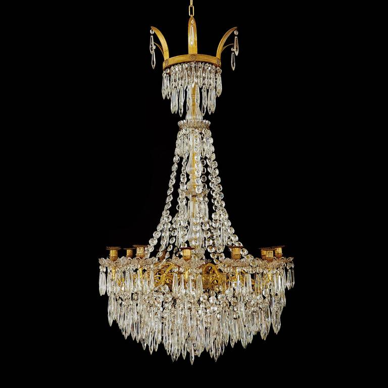 Large Gilt Bronze and Crystal Antique French Chandelier in the Empire Style 2
