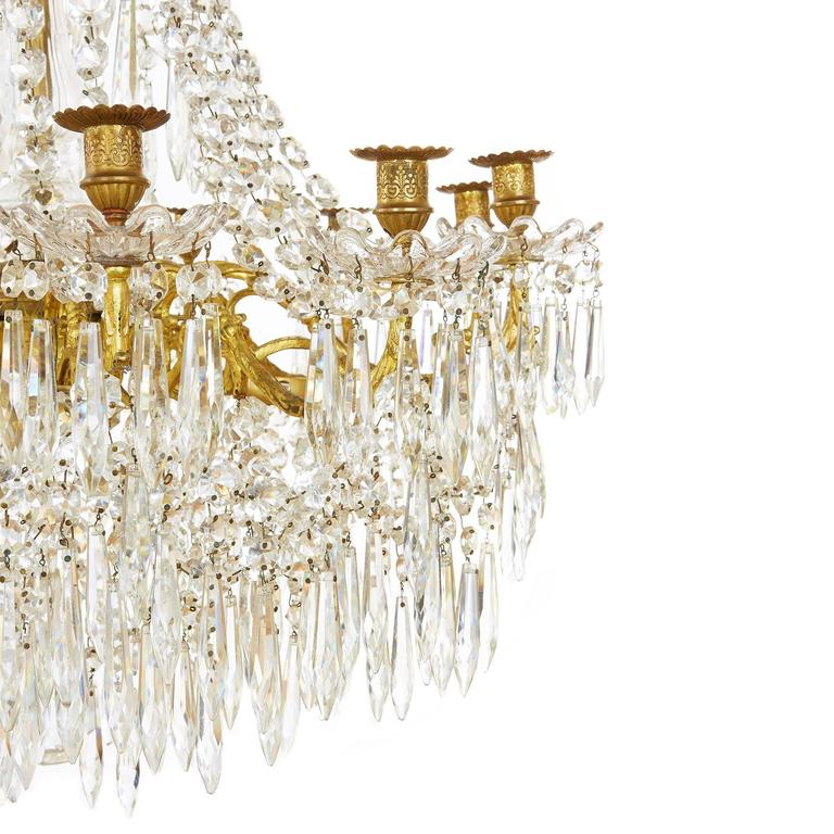 Large Gilt Bronze and Crystal Antique French Chandelier in the Empire Style 3