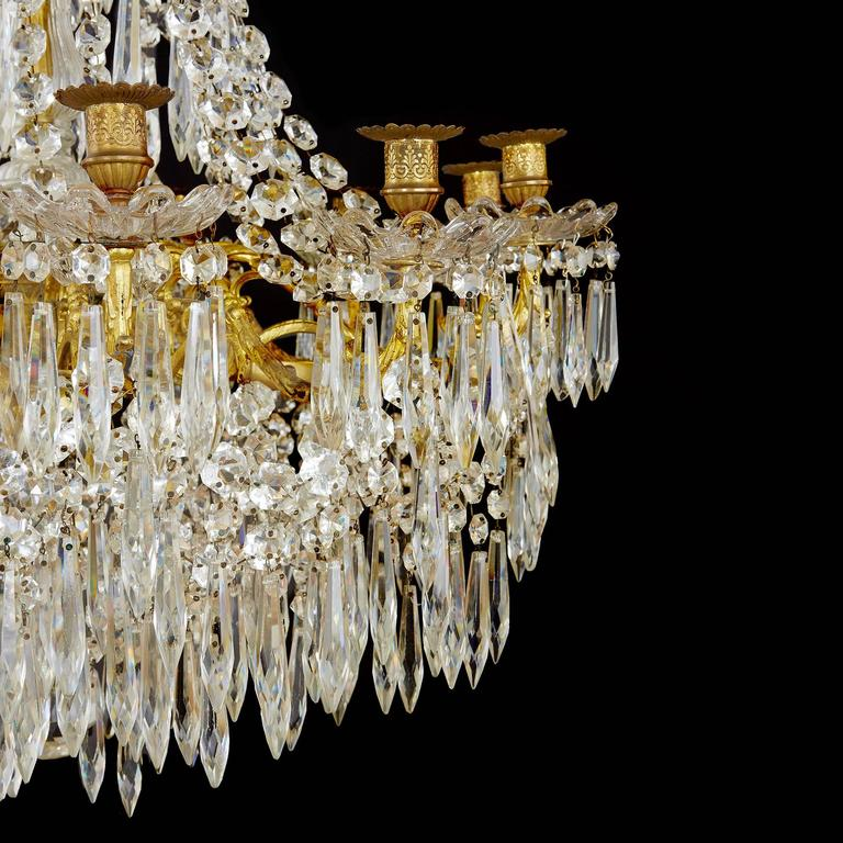 Large Gilt Bronze and Crystal Antique French Chandelier in the Empire Style 4