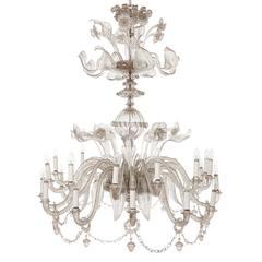 Belle Époque Style Italian Antique Murano Glass Twenty-Two-Light Chandelier