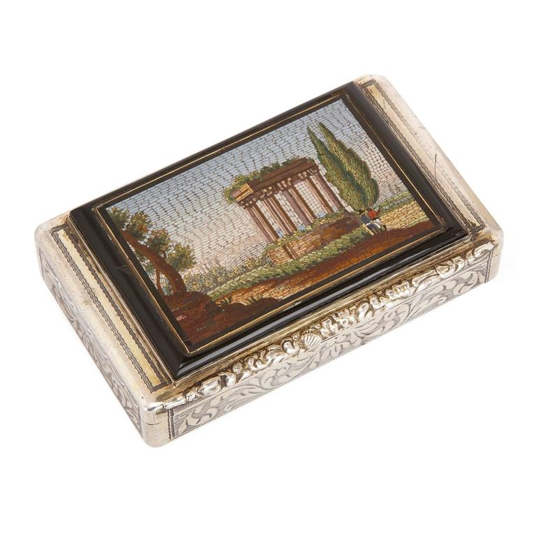 Antique Chased Silver Snuff Box Set with Fine Italian Micromosaic Plaque For Sale