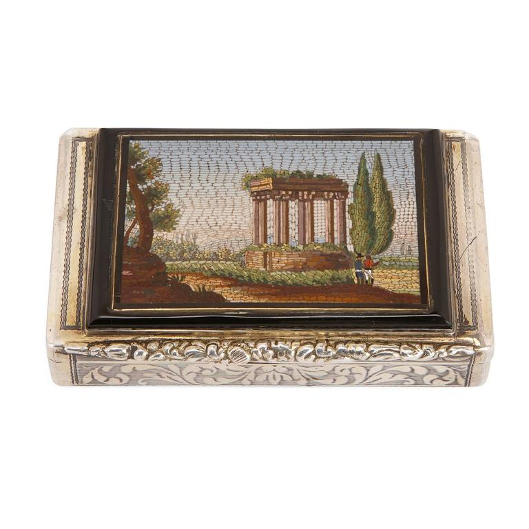Grand Tour Antique Chased Silver Snuff Box Set with Fine Italian Micromosaic Plaque For Sale