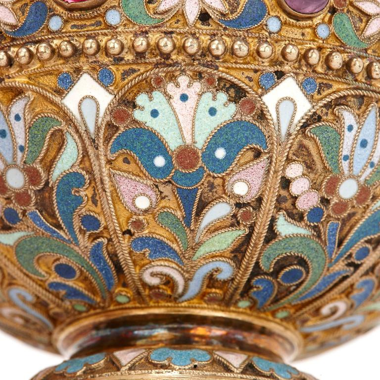 Russian Jewelled, Silver Gilt and Cloisonné Enamel Antique Charka by Ovchinnikov For Sale 1