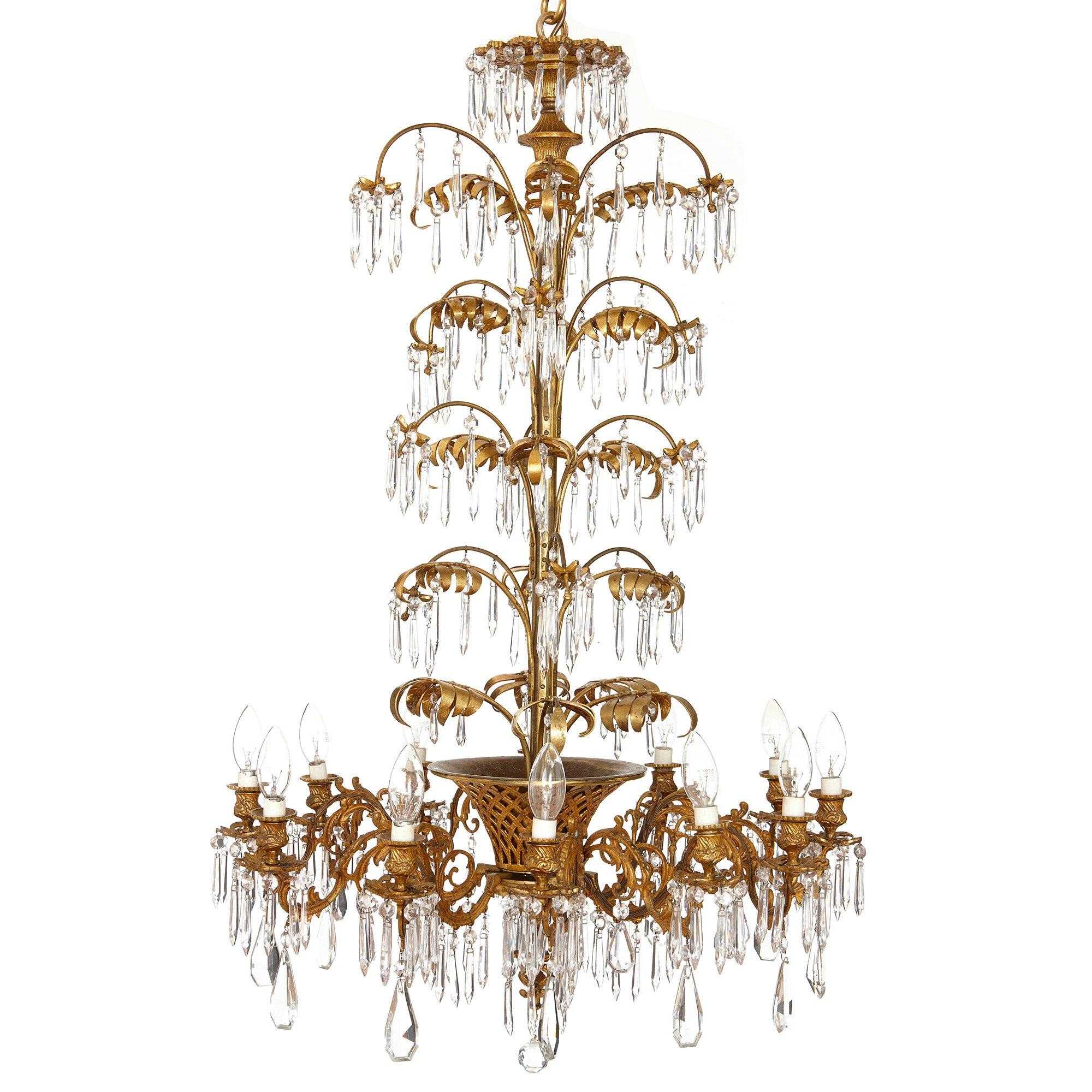French Antique Belle Epoque Style Ormolu and Cut-Glass Twelve-Light Chandelier