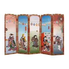 Antique Painted Wood Five-Panel Folding Screen in the Japonisme Style