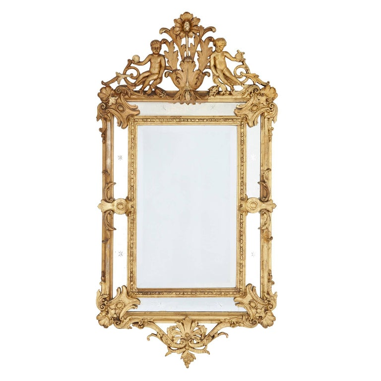 French Antique Golden Giltwood Mirror, Hand-Carved In The