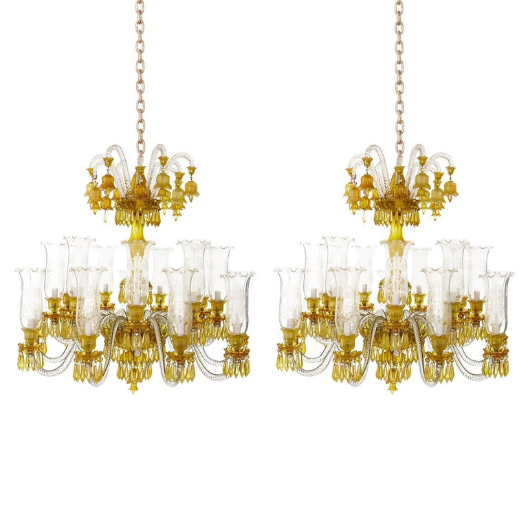 Pair Of Yellow And Etched Crystal Chandeliers In The Belle