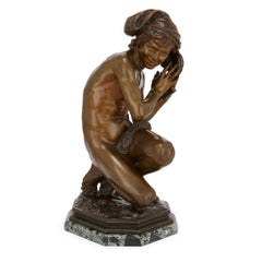 Antique French Patinated Bronze Sculpture of a Young Fisher Boy by Carpeaux