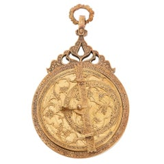 Antique Engraved Brass Astrolabe from the Persian Qajar Period