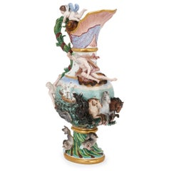 Large Antique German Meissen Porcelain 'Elements' Ewer, Symbolizing Water