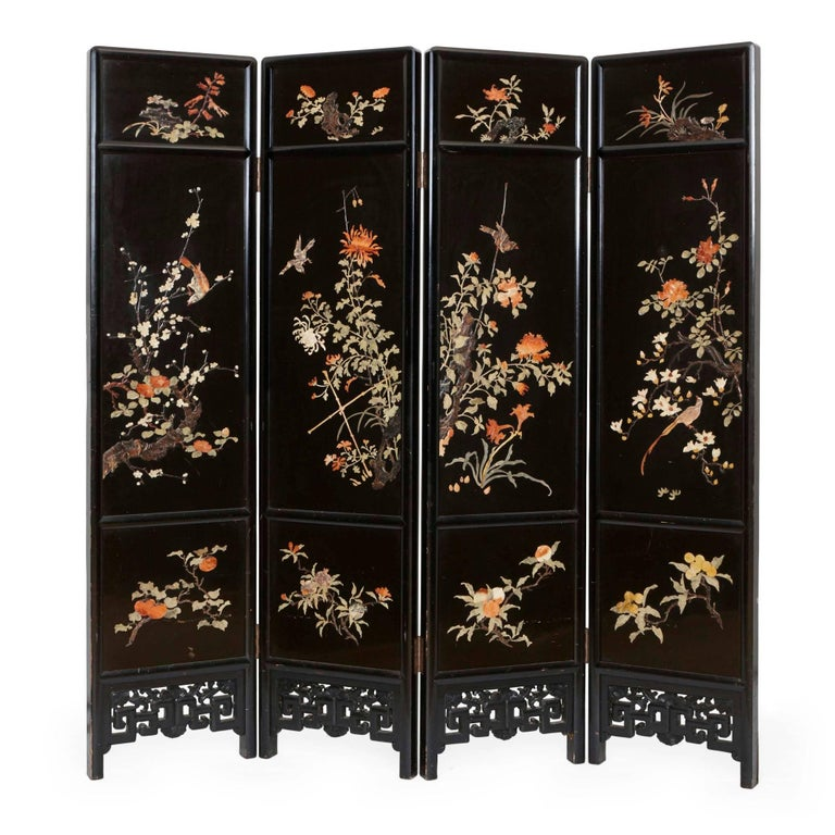 Chinese four panel folding screen of ebonized wood and