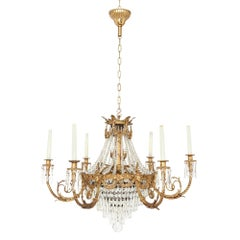 Antique French Gilt Bronze and Cut Glass Chandelier in the Empire Style