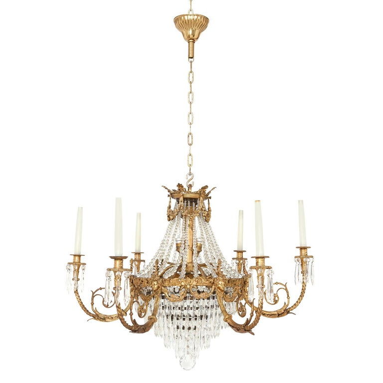 Antique french gilt bronze and cut glass chandelier in the empire antique french gilt bronze and cut glass chandelier in the empire style for sale audiocablefo
