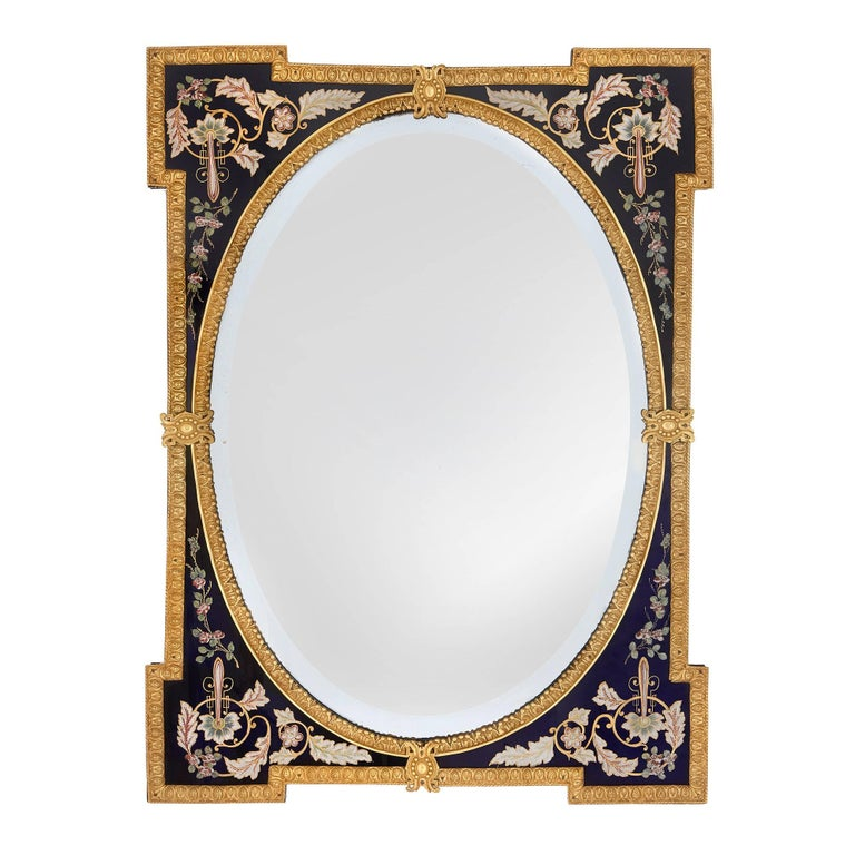 Large antique venetian glass wall mirror in the belle for Antique style wall mirror