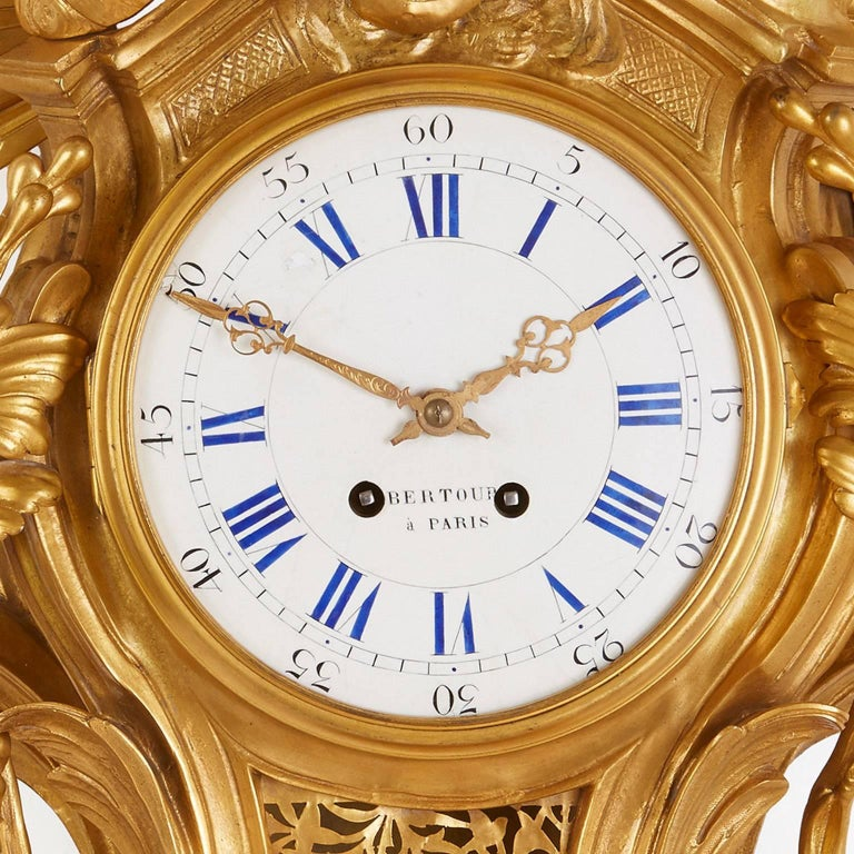 Large Belle Époque Style Antique French Ormolu Cartel Clock by Bertoud In Good Condition For Sale In London, GB