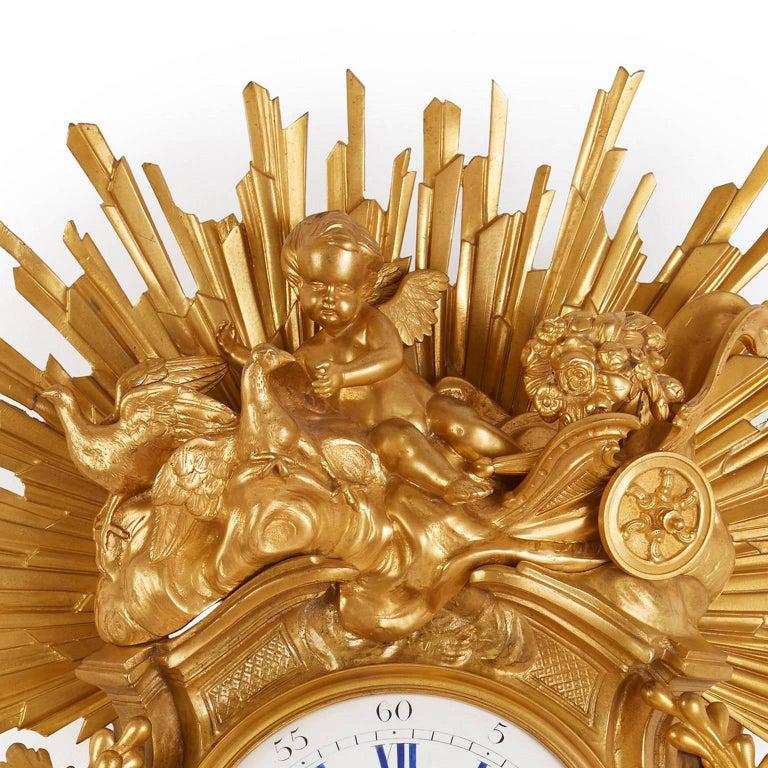 Gilt Large Belle Époque Style Antique French Ormolu Cartel Clock by Bertoud For Sale