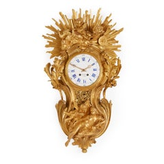 Large Belle Époque Style Antique French Ormolu Cartel Clock by Bertoud