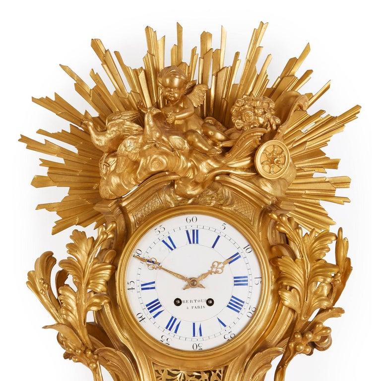 19th Century Large Belle Époque Style Antique French Ormolu Cartel Clock by Bertoud For Sale