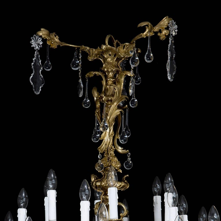 19th Century Antique French Chandelier in the Rococo Style, of Gilt Bronze and Cut-Glass For Sale