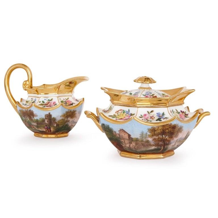Neoclassical Style French Antique Paris Porcelain Eight-Piece Tea Set 4
