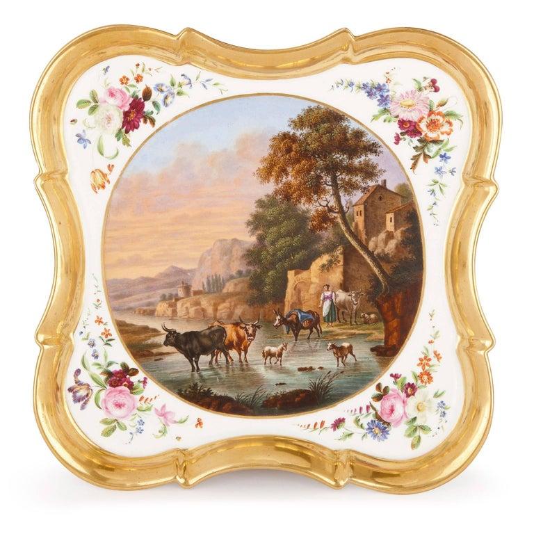 Neoclassical Style French Antique Paris Porcelain Eight-Piece Tea Set 2