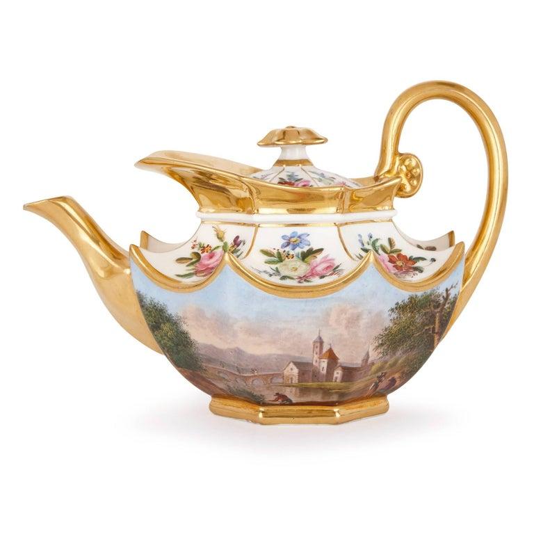 Neoclassical Style French Antique Paris Porcelain Eight-Piece Tea Set 3