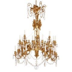 French Antique Neoclassical Style Gilt Bronze and Cut-Glass Chandelier