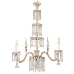 Bohemian Antique Belle Epoque Style Cut-Glass Four-Tiered Chandelier