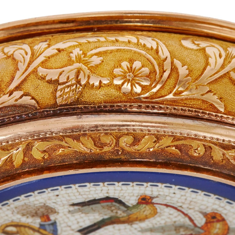 19th Century Pill Box Set in Gold with Italian Micromosaic Panels by Christian Petschler For Sale