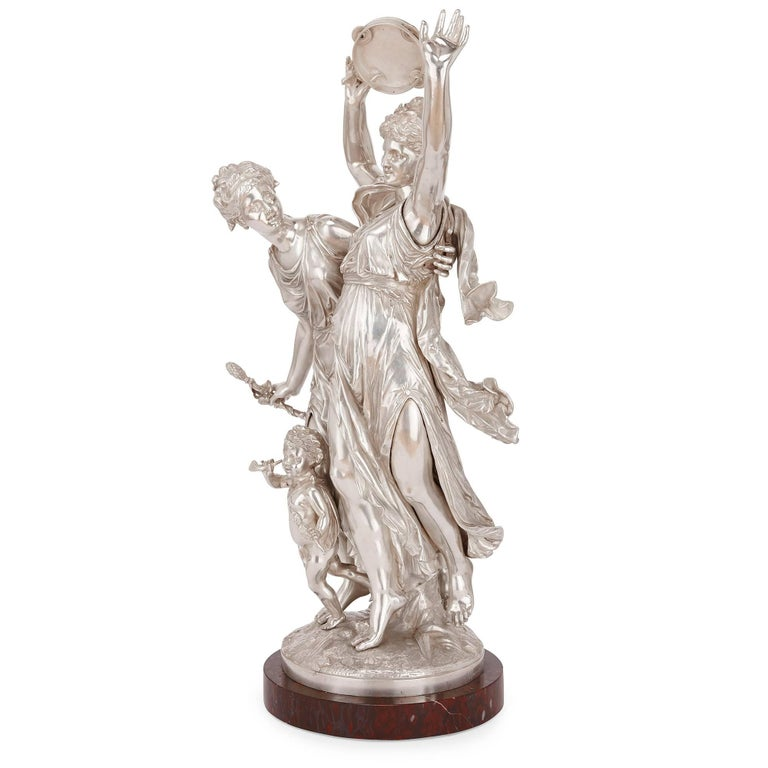 19th Century Antique Silvered Bronze Neoclassical Figures by J-L Gregoire For Sale 3