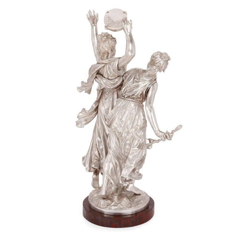 19th Century Antique Silvered Bronze Neoclassical Figures by J-L Gregoire For Sale 1