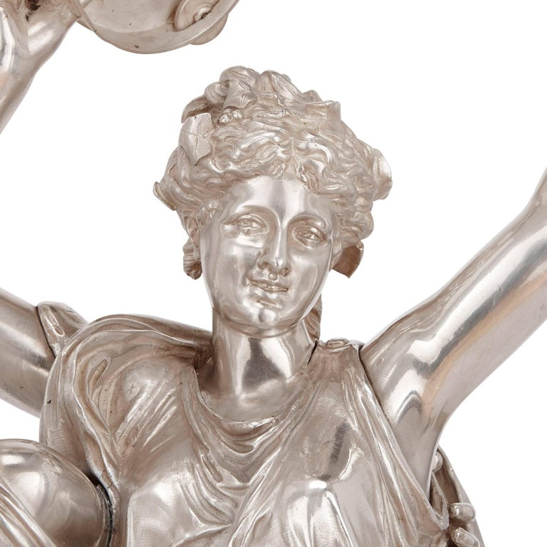 19th Century Antique Silvered Bronze Neoclassical Figures by J-L Gregoire For Sale 2