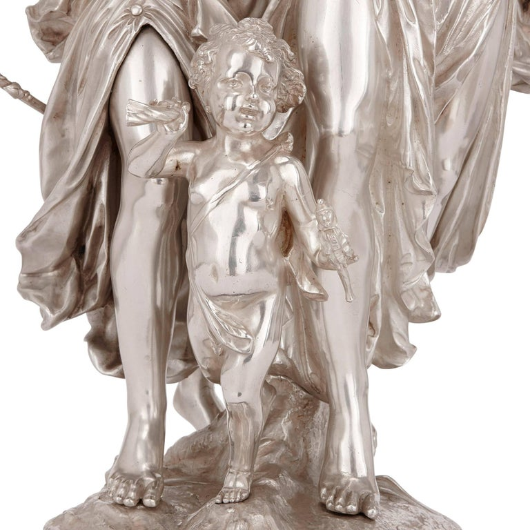 19th Century Antique Silvered Bronze Neoclassical Figures by J-L Gregoire In Excellent Condition For Sale In London, GB