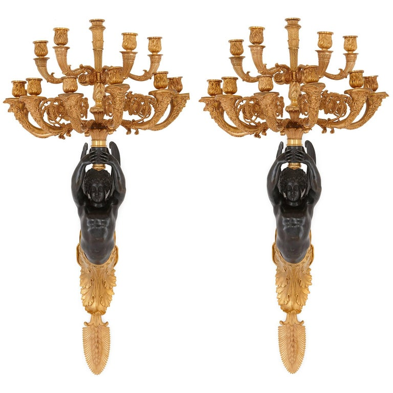 Pair of French Antique Empire Style Bronze Wall Lights