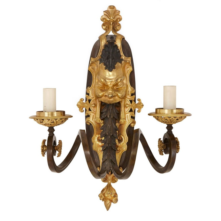 Set of Four Ormolu and Patinated Bronze Antique Wall Lights For Sale 1