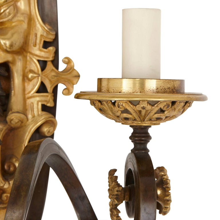 Gilt Set of Four Ormolu and Patinated Bronze Antique Wall Lights For Sale